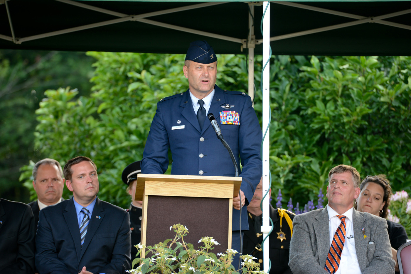 U.S Air Force Col Timothy J. LaBarge, commander 105 Airlift Wing, guest speaker at the Patriot Day, September 11th Remembrance ceremony held at the Orange County Arboretum, Thomas Bull Memorial Park, Montgomery, New York, Sept. 11, 2014. (U.S. Air Force photo by Tech. Sgt. Michael OHalloran/Released)